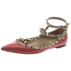 Valentino Red Leather T Strap Rockstud Ballet Flats Size 39.5