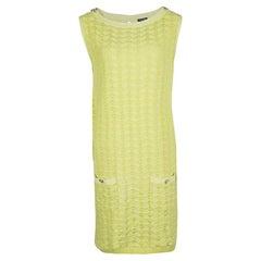 Chanel Yellow Textured Cotton Jacquard Knit Sleeveless Dress XL