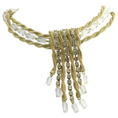 Scaasi Red Carpet Gold and Lucite Tassel Necklace