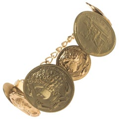 Dolce and Gabbana Monete Sicily Coin Gold Tone Bracelet