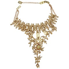 Versace 90's Medusa Vintage Golden Necklace with Crystals