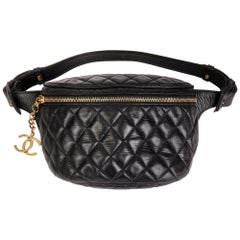 1990 Chanel Black Quilted Lambskin Vintage Timeless Belt Pouch