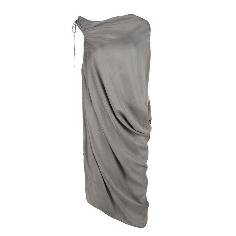 f329cba5cc0 Lanvin Grey Gathered Tie Detail Draped Asymmetric Dress M For Sale ...