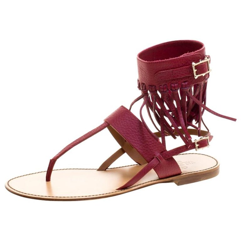 47d6c86695d4 Valentino Burgundy Leather Fringe Detail Ankle Wrap Flat Sandals Size 37  For Sale