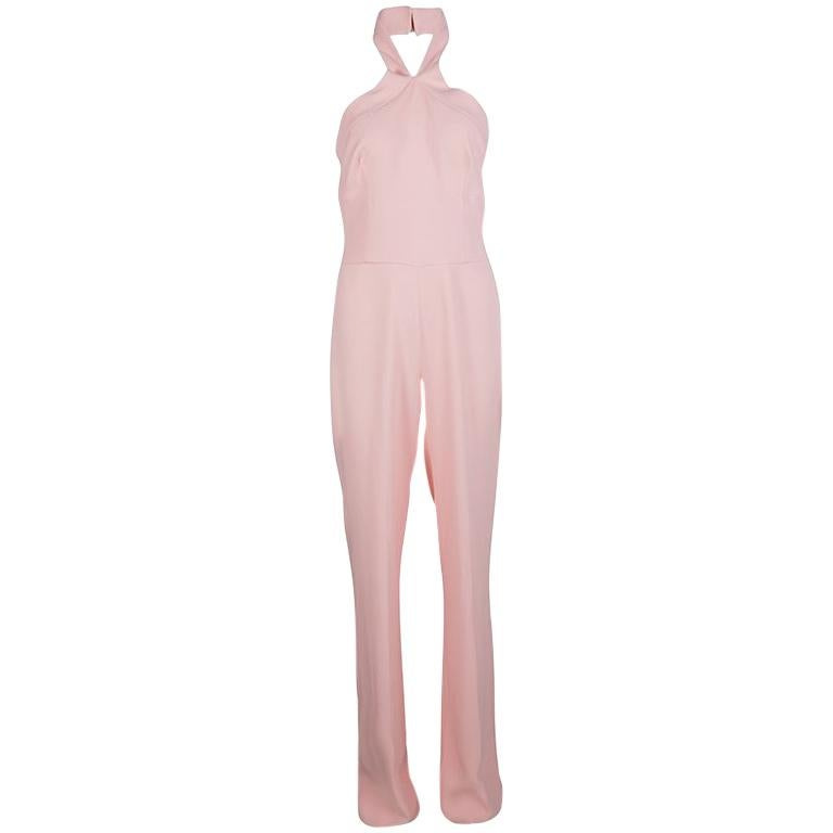 b5ab88cea6c Ermanno Scervino Pink Cross Strap Halter Neck Jumpsuit M For Sale at 1stdibs