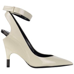 Tom Ford Womens White Patent Leather Ankle Covered Heel Pumps IT35/US5