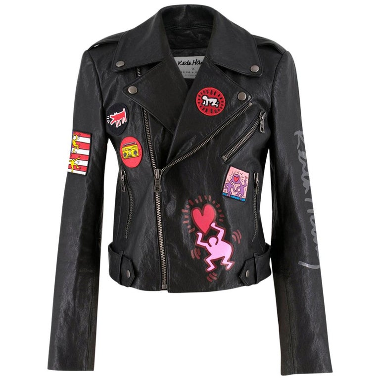 12883564d5e Keith Haring x Alice + Olivia Cody leather jacket - Current Season US 4 For  Sale