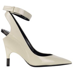 Tom Ford Womens White Patent Leather Ankle Covered Heel Pumps IT37.5/US7.5