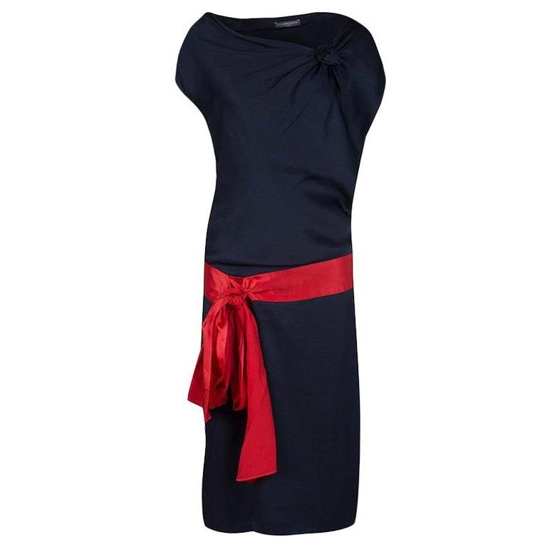 Alexander McQueen Navy Blue Silk Draped Contrast Tie Detail Sleeveless Dress M For Sale