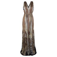 Alberta Ferretti Multicolor Printed Crepe Silk Sleeveless Belted Maxi Dress M