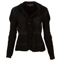Ralph Lauren Black Suede Ruffle Jacket Sz 4