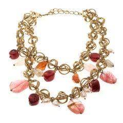 Oscar de la Renta Multi Stone Faux Pearl Gold Tone Two Strand Necklace