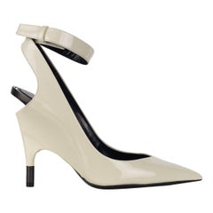 Tom Ford Womens White Patent Leather Ankle Covered Heel Pumps IT41/US11