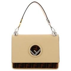 Fendi Kan I F Shoulder Bag Leather with Zucca Velvet Medium