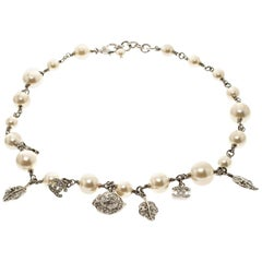 Chanel CC Crystal Faux Pearl Silver Tone Necklace