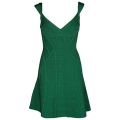 Herve Leger Pine Green Fit and Flare Sleeveless Mayra Dress M