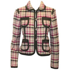 Les Copains Cropped Tweed Day Jacket trimmed with Btown Twill