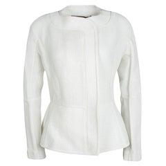 Roland Mouret White Cotton Blend Textured Bellasis Jacket M