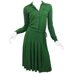 Ellis Wallis Paper Italian Green 1920s Style Sz 6 Long Sleeve Rayon Jersey Dress