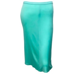 1990s Gianni Versace Couture Teal Turquoise Blue Silk Jersey Vintage 90s Skirt