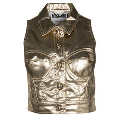 Moschino Couture Gold Sleeveless Crop Vest M