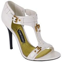 b1b1d8cad13 Tom Ford Womens White Leather Gladiator Sandal Pumps