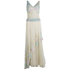 Zuhair Murad Haute Couture Beige Contrast Embellished Sleeveless Gown