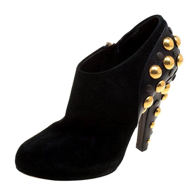 96df5f130 Gucci Black Suede Vintage Babouska Studded Heel Ankle Boots Size 37.5 For  Sale