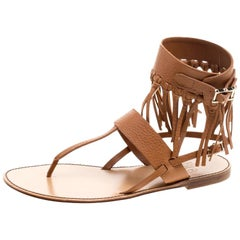 39929382e568 Valentino Brown Leather Fringe Detail Ankle Wrap Flat Sandals Size 37.5