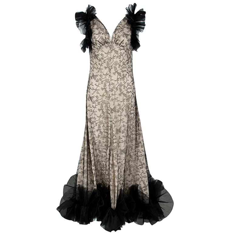 Alexander McQueen Black and Flesh Lace Ruffle Trim Sleeveless Gown M For Sale