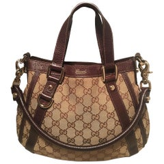 Gucci Monogram Canvas and Brown Leather Small Shoulder Handbag 7095853e4ca