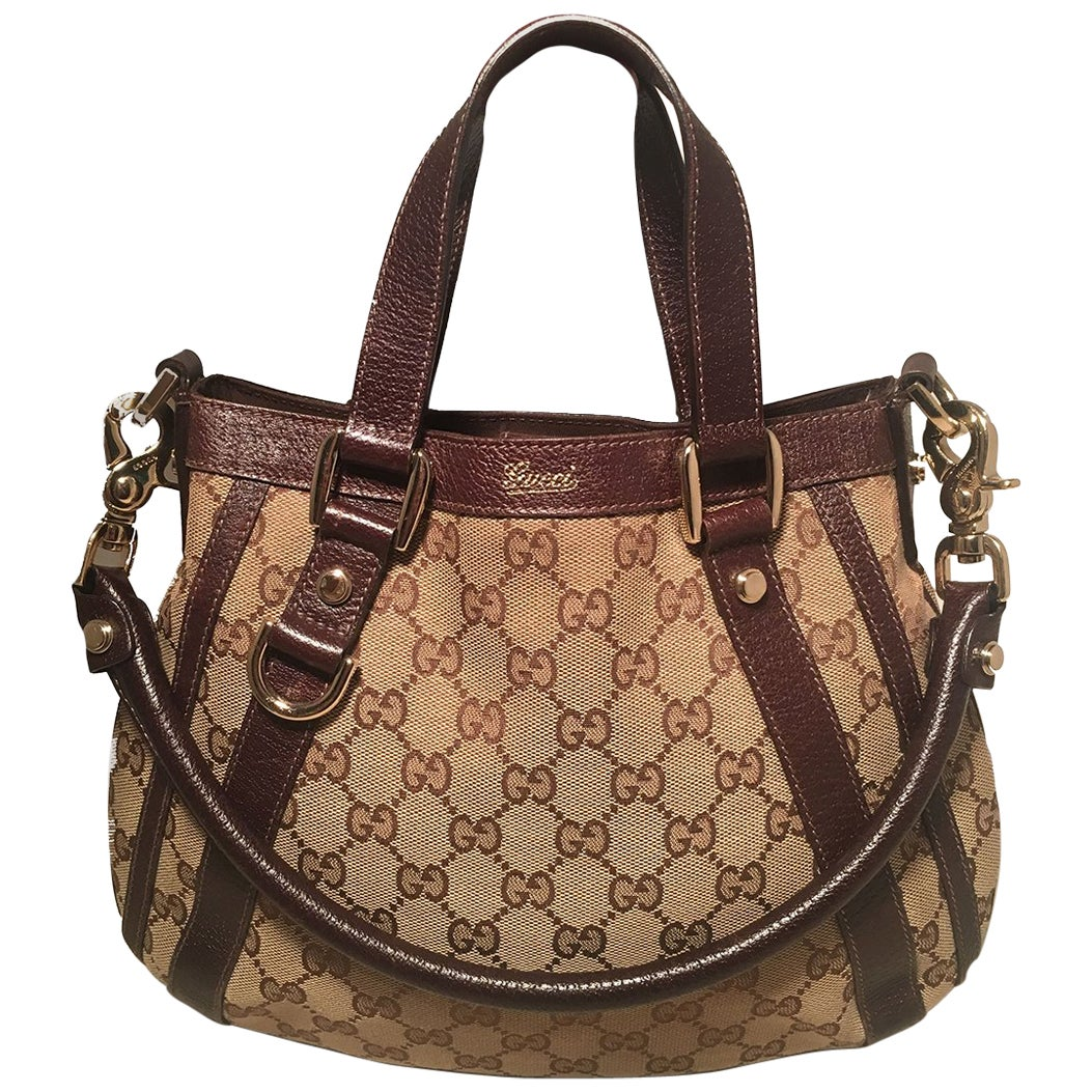 Gucci Monogram Canvas and Brown Leather Small Shoulder Handbag