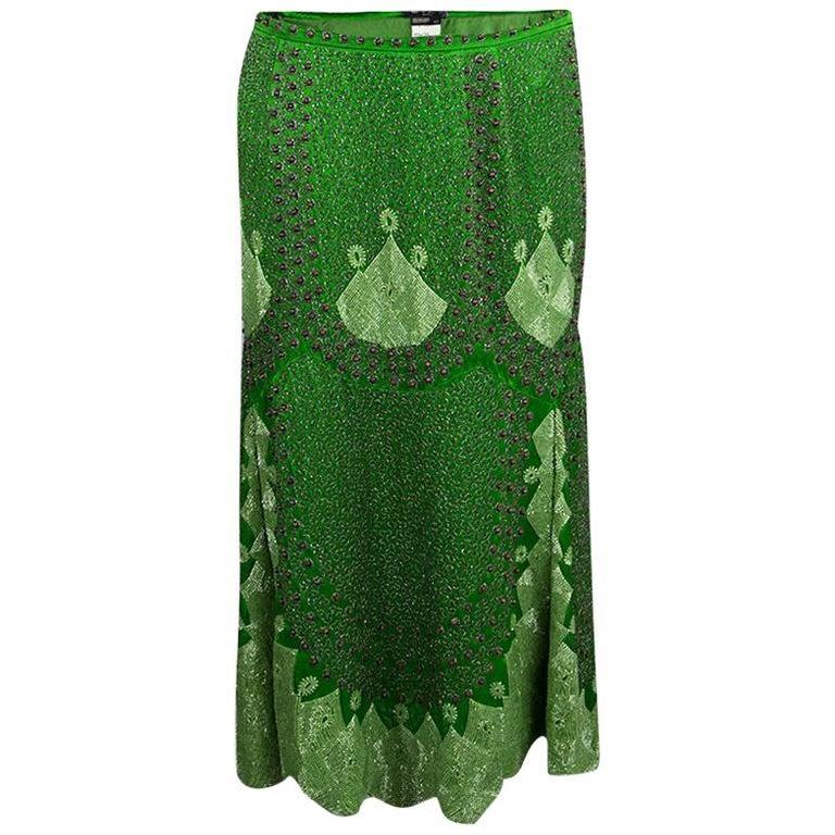 Etro Parrot Green Silk Hand Embellished Beadwork Midi Skirt M For Sale