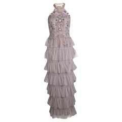 Marchesa Notte Purple Embellished Halter Neck Tiered Gown S