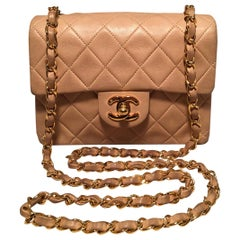 Chanel Nude Quilted Tan Leather Mini Classic Flap Shoulder Bag