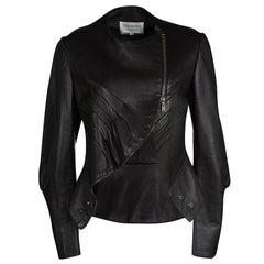 Yves Saint Laurent Hiver'08 Dark Brown Leather Asymmetric Zip Front Jacket M