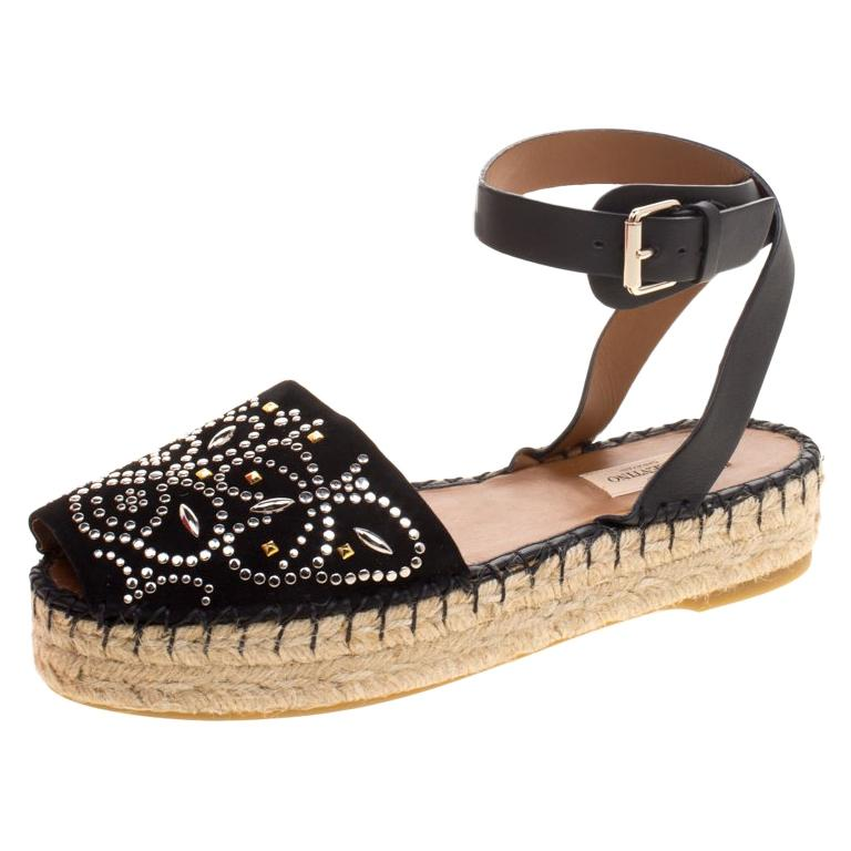 f2022fbf1c379 Valentino Black Embellished Suede and Leather Ankle Strap Espadrilles Size  39 For Sale