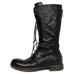 Marsell Black Leather Tall Lace Up Combat Boots Sz 37.5