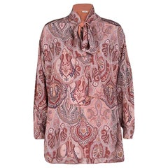 Celine Printed Mulberry Silk Neck Tie Detail Long Sleeve High Low Tunic M