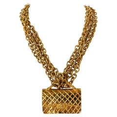 1980s Chanel 2.55 Classic Handbag Double Chain Necklace