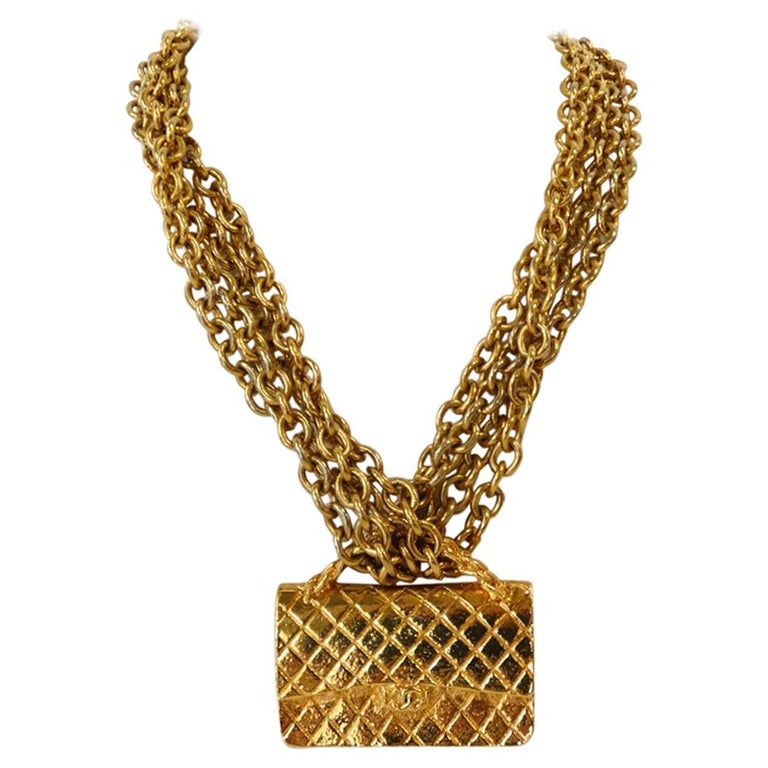 1980s Chanel 2.55 Classic Handbag Double Chain Necklace  For Sale