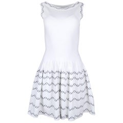 Alaia White Fit & Flare Sleeveless Dress W/ Black Embroidery Sz 40
