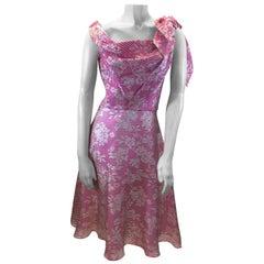 David Fielden Pink and White Stripe Silk Dress NWT