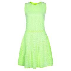 Dior Neon grün Flare halblange Kleid M