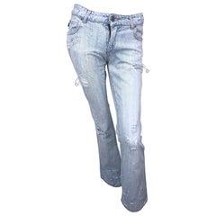 Roberto Cavalli 2000s Sz 24 Rhinestone Skulls Stonewash Bootcut Blue Jeans Denim