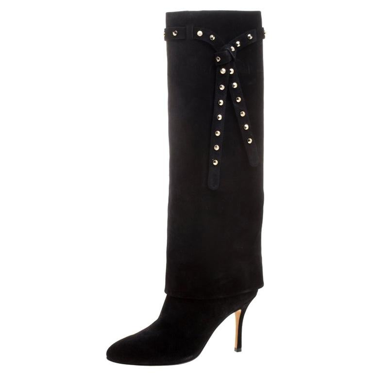 2c2d84fa36 Valentino Black Suede Rockstud Tie Foldover Knee Length Boots Size 37 For  Sale