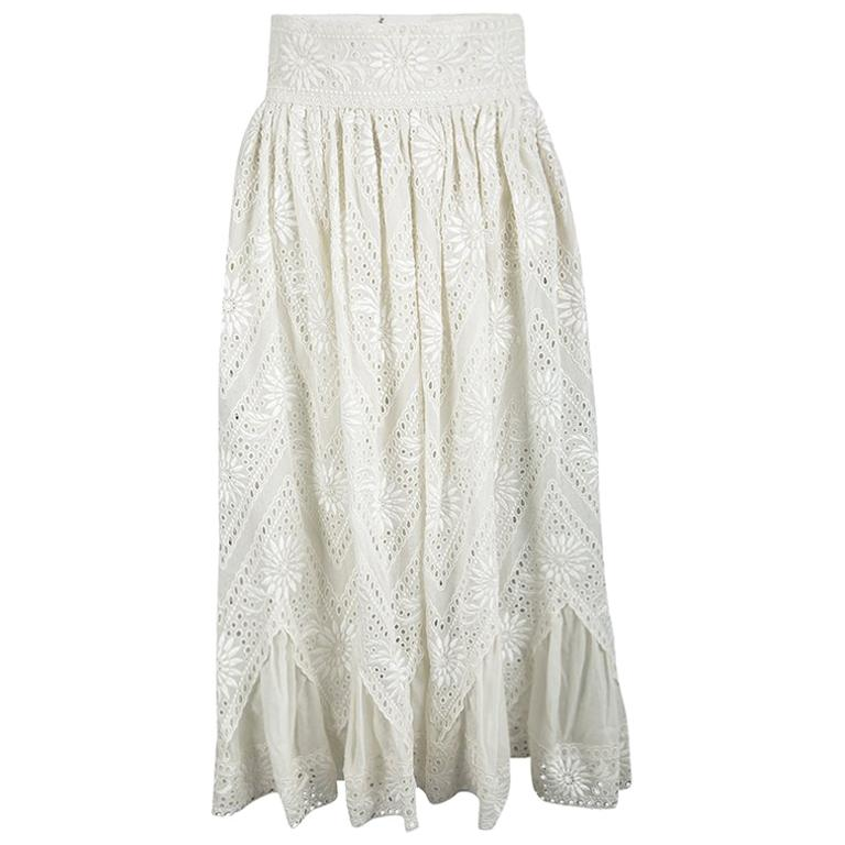 cf7585b581 Valentino Cream Cotton Eyelet Embroidered High Waist Gathered Midi Skirt S  For Sale