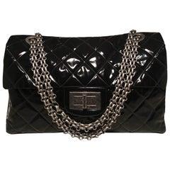 fe53fb2c2d06 Chanel 2.55 Reissue Classic Flap Oversized Xxl Black Patent Leather  Shoulder Bag