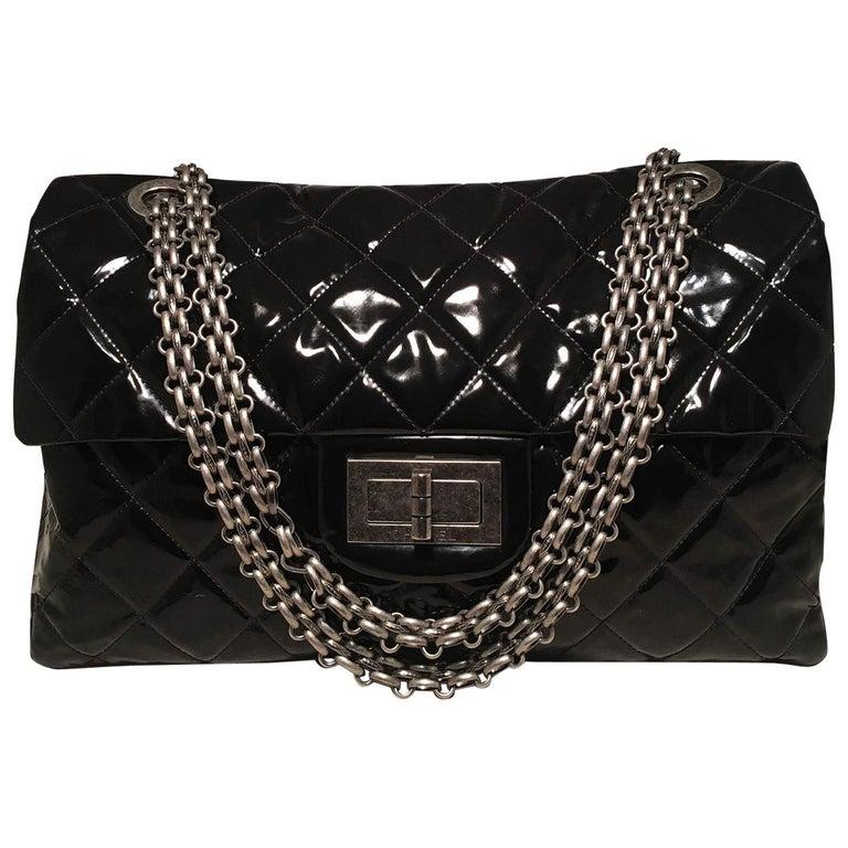 4cfbc0e1e53dcf Chanel 2.55 Reissue Classic Flap Oversized Xxl Black Patent Leather  Shoulder Bag For Sale