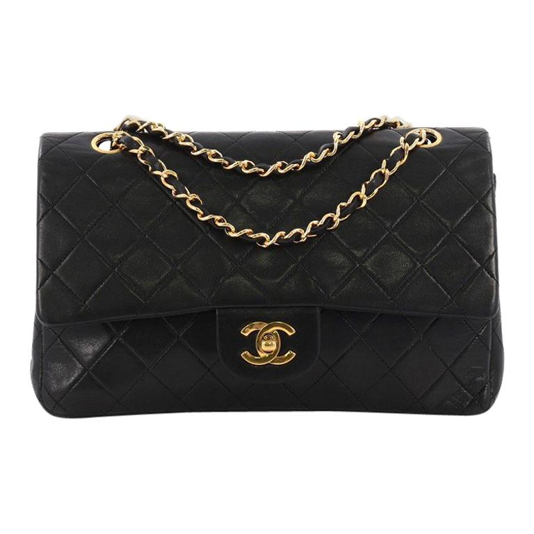 b18d33bea53 Chanel Vintage Classic Double Flap Bag Quilted Lambskin Medium For Sale